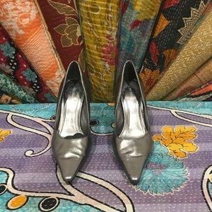 BCBG silver metallic heels. Size 7.5