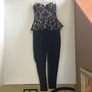 Sexy Strapless Nude And Black Peplum Jumpsuit NWT