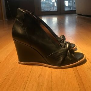 Sigerson Morrison Black Leather Wedges