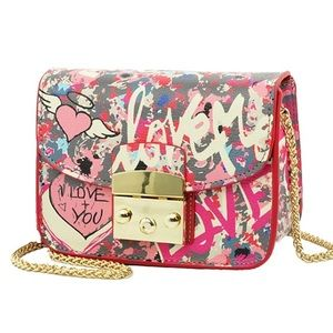 Pink graffiti mini purse with chain strap