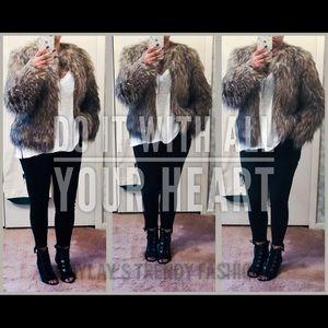 Jackets & Blazers - Faux Fur Coat- BROWN