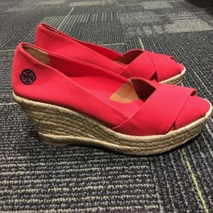 Tory Burch Red Filipa Espadrilles Wedges