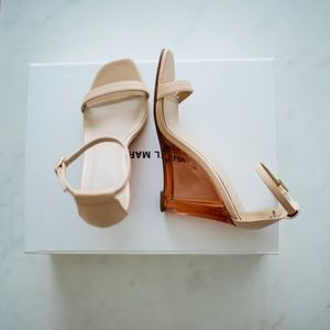 ASOS Clear Wedge Heel Sandals - Pink Nude
