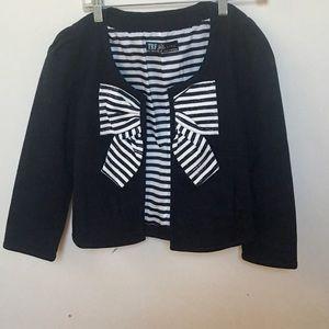 Zara Classic Black And White Stripe Detail Blazer