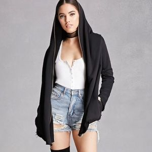 Forever 21 Black French Terry Zipper Cardigan Warm