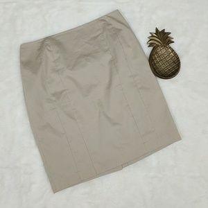 Ann Taylor Khaki Seamed Pencil Skirt