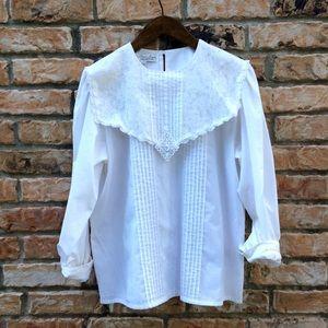 Vintage 1990s lace bib blouse