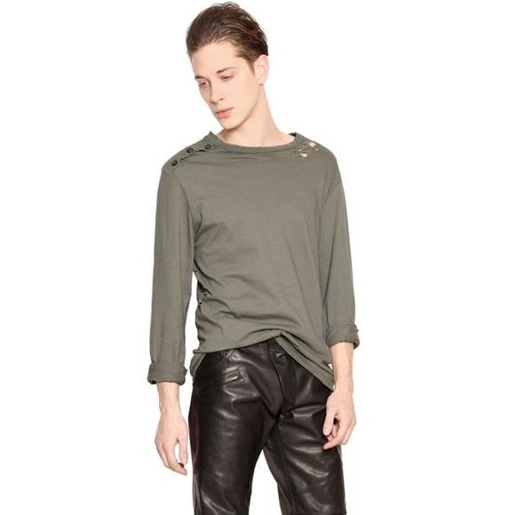 46744471 Pierre Balmain Shirts   Long Sleeve Distressed Military Tee   Poshmark