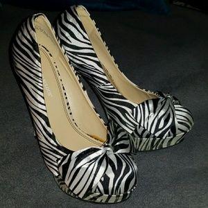 Zebra Print Satin High Heel with Bows
