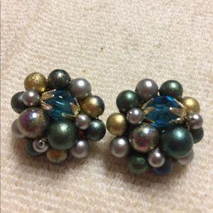 Vintage Teal Beaded Clip Earrings