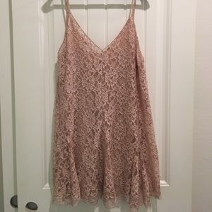 Zara pink nude lace dress