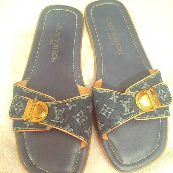 c9b68b479062 Louis Vuitton Shoes - Denim Monogram Louis Vuitton slides