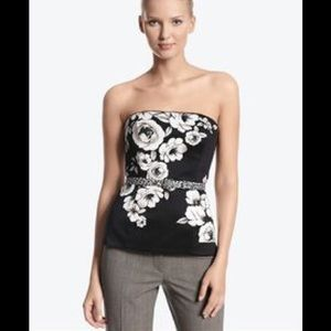 Beautiful WHBM Floral Bustier w/ Leopard Belt