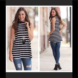Tops - Striped sleeveless turtleneck tunic