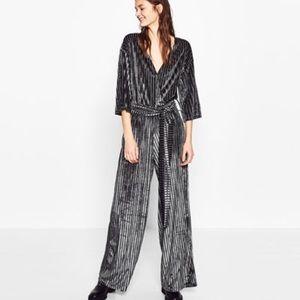 Zara Velvet Striped Jumpsuit, Size Large