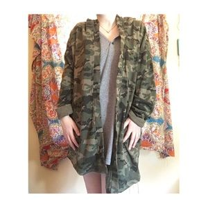 Camo Hooded Cardigan with Pockets
