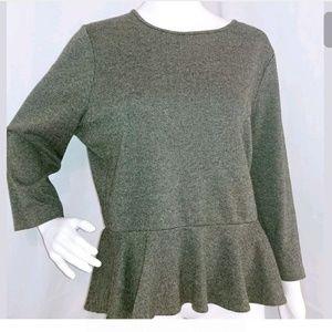 Ralph Lauren Womens XL Gray 3/4 sleeve peplum top