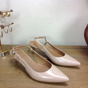 14th & Union Nude Patent Leather Slingback Heels