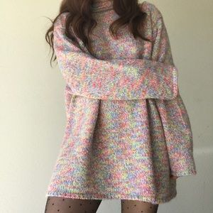 Oversized colorful knit sweater