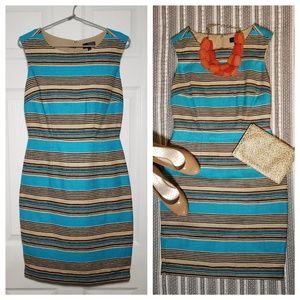 EUC Striped Linen / Cotton Wiggle Dress