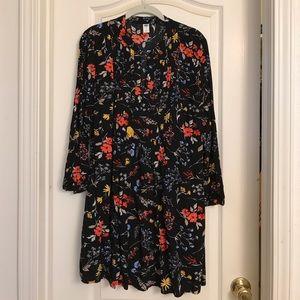 ON floral print pin tucked swing dress sz L