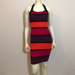 NWT express Stripes bodycon Halter dress XS