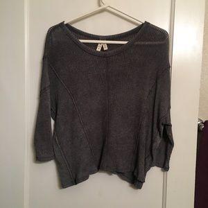 Free people FP grey 3/4 sleeve loose boho top