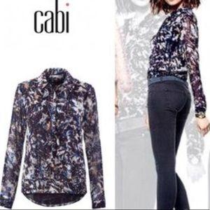 CAbi Starry Night Long Sleeve Blouse Sz M