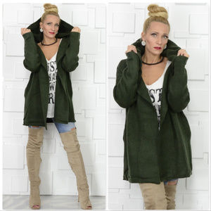 KERISMA OLIVE GREEN HOODED CARDIGAN