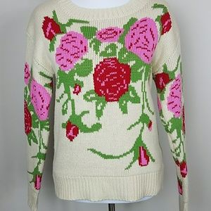 Sweaters - Vintage Red Pink Rose Chunky Knit Sweater