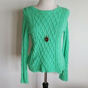 Lovely pistachio green cardigan cable sweater