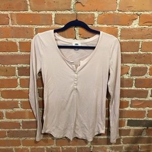 Pink long sleeved Henley shirt size M