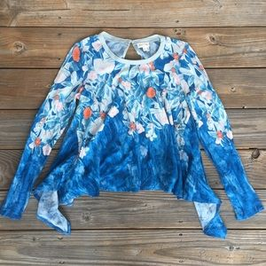 Meadow Rue // Blue long sleeve floral blouse xs