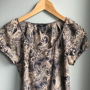 Banana Republic patterned silk top