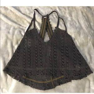 FREE PEOPLE Boho Brown Crochet Top Small /Medium