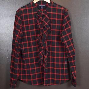 Women's, Gap Ruffle Front Plaid Shirt, Size Large