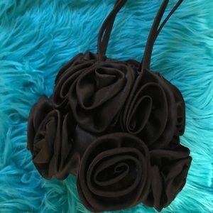 Black Satin Rose Wristlet