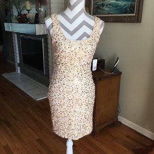 Gold Sequins Sleeveless Dress