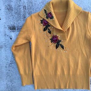 VINTAGE 50s Style Floral Appliqué Mustard Sweater