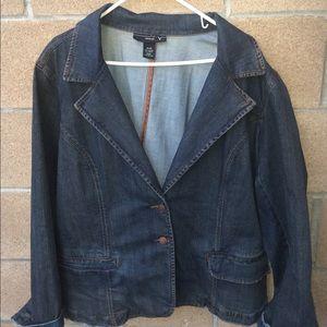 Venezia denim jacket blazer distressed size 26 28