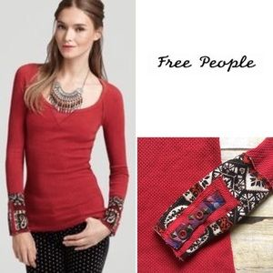 We The Free red thermal with embellished cuffs