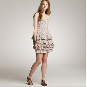 J. Crew Floral Strapless Ruffle Dress