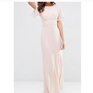 Like New- ASOS Soft Pink Open Back Gown