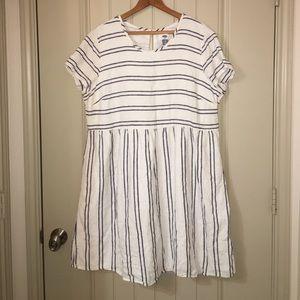 OLD NAVY Blue White Stripe Linen Dress Sz XL