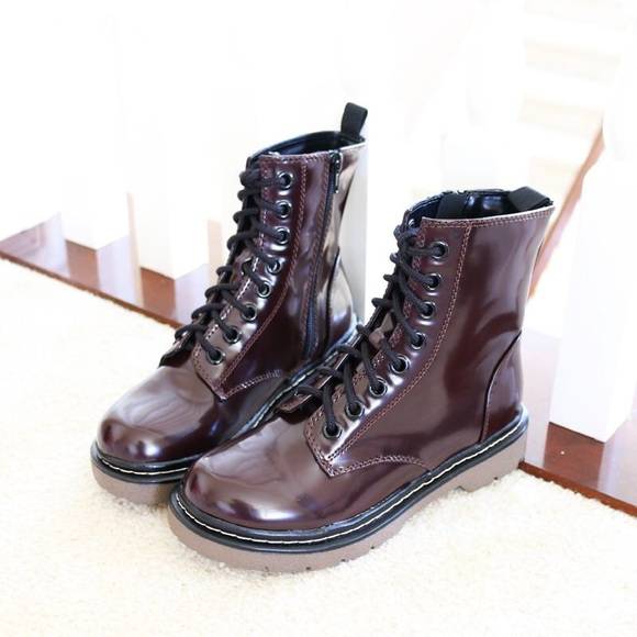 Soda Women Ankle Combat Boots High Heels Lace Up Booties Wine Burgundy SECOND-S