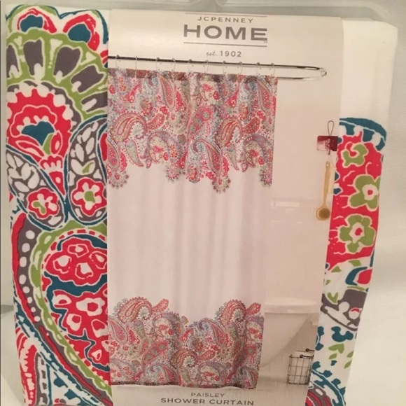 NEW JC PENNY HOME PAISLEY SHOWER CURTAIN 72x72