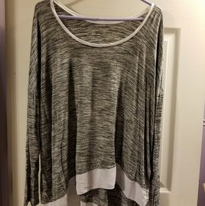 """""""Watercolor"""" striped tunic with asymmetrical hem"""