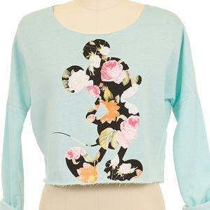 Floral Graphic Mickey Crop Sweatshirt
