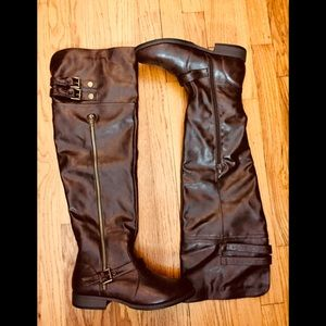 Bamboo Brown Over the Knee Faux Leather boot