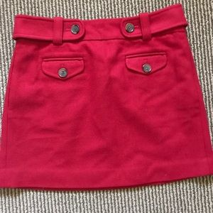 J. Crew Red Mini Skirt sz 2